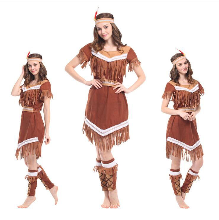 Tassels Indian queen halloween costumes for Women Girl Pocahontas Native American Indian Wild West Fancy Dress Party