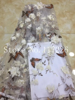 3d flower embroidery lace fabric Top grade JRB-52608 french net lace fabric with pretty flowers for bridal dress