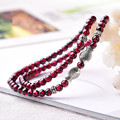 Natural Garnet Beaded Bracelet Many Layers Crystal Hand String Silver Fish Bangles Bangles Gift for Women Birthday Present