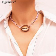 Ingemark Hawaii Cowrie Shell Choker Necklace Statement Women NE+BA  Bohemian Natural Stone Bracelet Chain Necklaces Jewelry Set