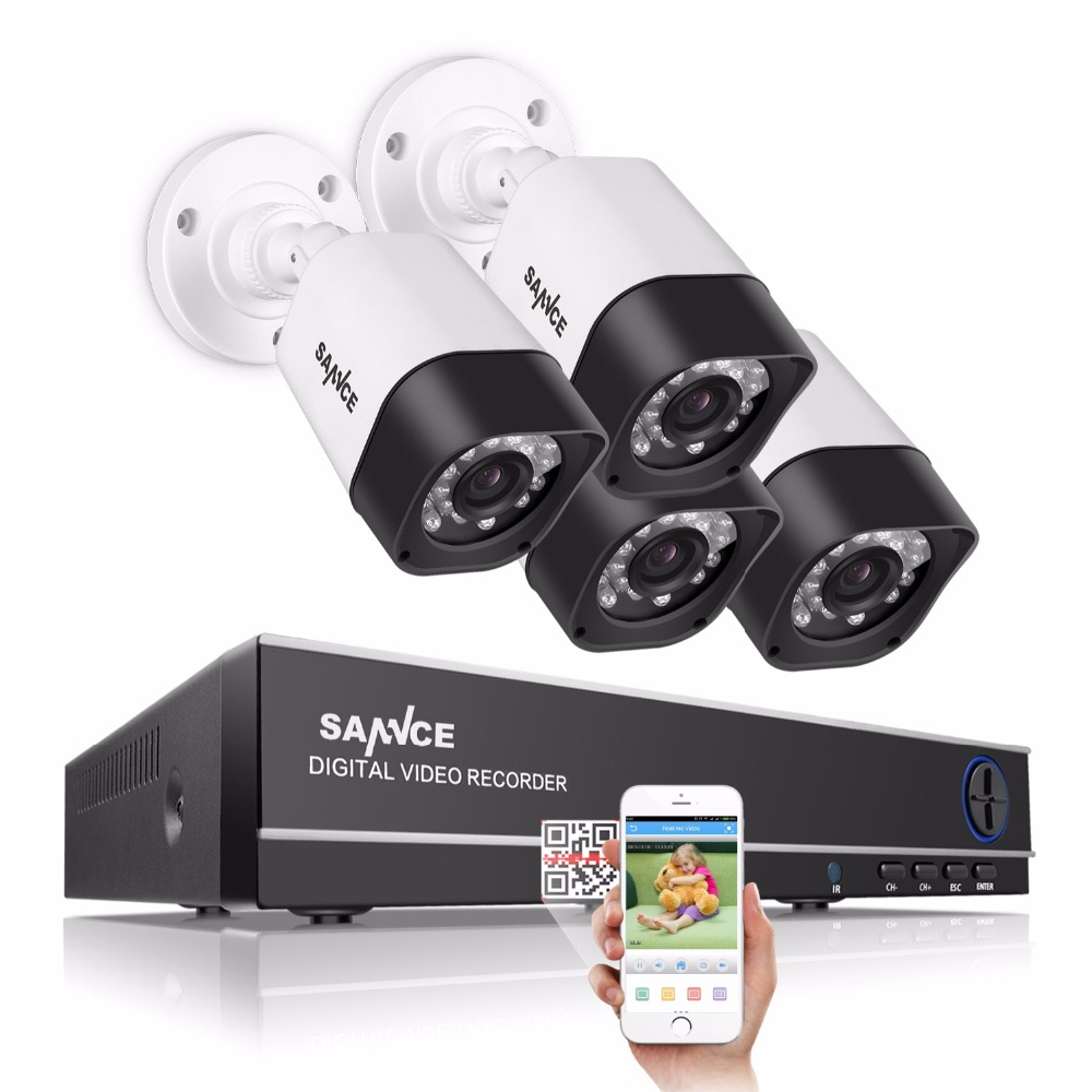 SANNCE 8CH 1080P HDMI DVR 720P 1280TVL High resolution CCTV system IR Outdoor Waterproof 8CH 720P