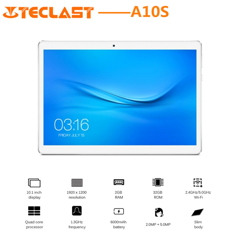 Teclast A10S Tablet PC 10.1inch Android 7.0 MTK8163 Quad Core 1.3GHz 2GB RAM 32GB eMMC ROM Dual Cameras GPS WIFI Bluetooth teclast p80 pro tablet pc 8 0 inch android 7 0 mtk8163 quad core 1 3ghz 2gb ram 16gb emmc rom double cameras dual wifi hdmi