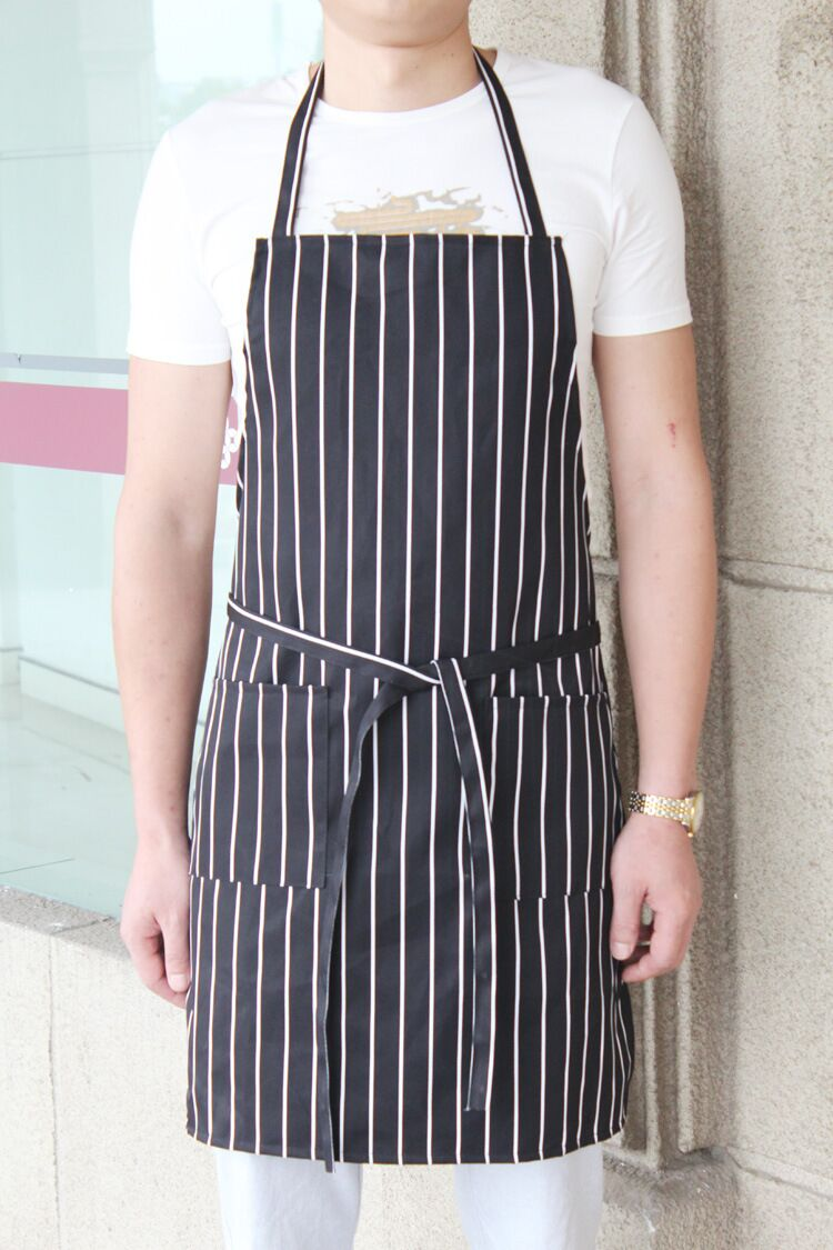 White apron cafe - Funny Apron Delantales New Bib 2017 Fashion Hot Stripe Polyester Fiber Women Cafe Kitchen Clean Cook