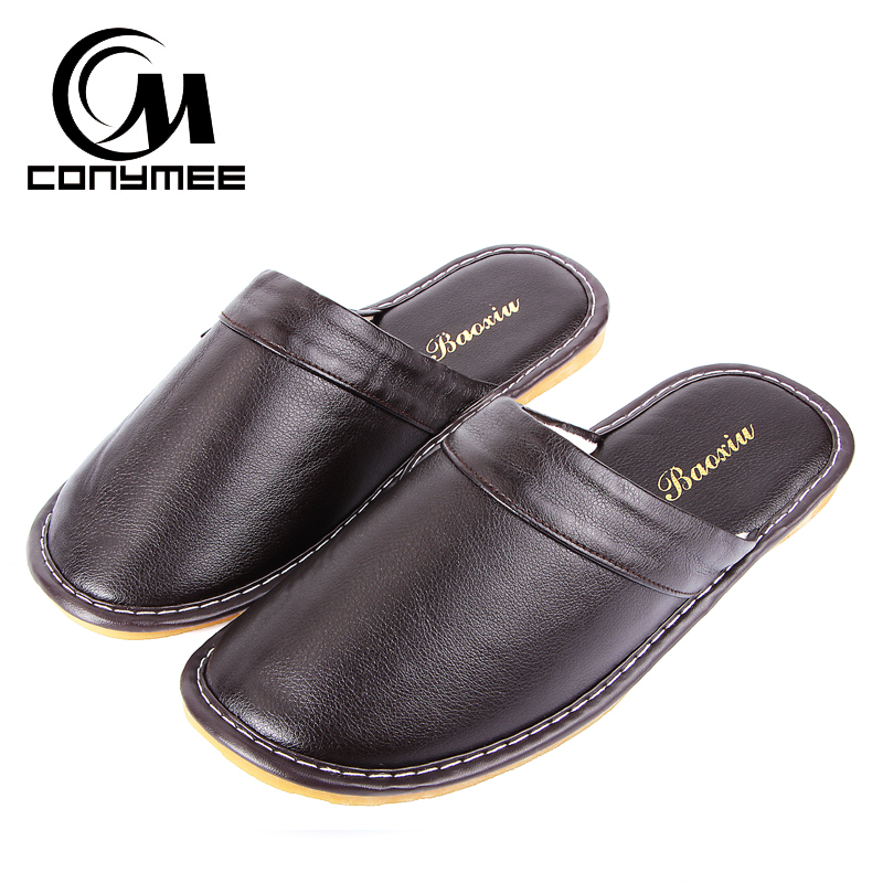 CONYMEE Winter Slippers 2018 Men Leather Shoes Casual Sneakers For Home Indoor Slipper Pantufas Non-slip Male Soft Floor Terlik цена
