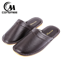 CONYMEE Winter Slippers 2018 Men Leather Shoes Casual Sneakers For Home Indoor Slipper Pantufas Non-slip Male Soft Floor Terlik