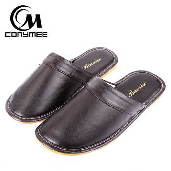 CONYMEE Winter Slippers 2018 Men Leather Shoes Casual Sneakers For Home Indoor Slipper Pantufas Non-slip Male Soft Floor Terlik - DISCOUNT ITEM  46% OFF All Category