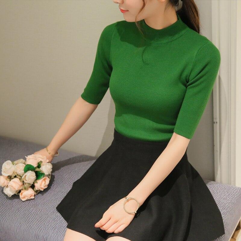 OHCLOTHING 2017 nueva primavera Coreano camisa de cuello sólido elástico suéter