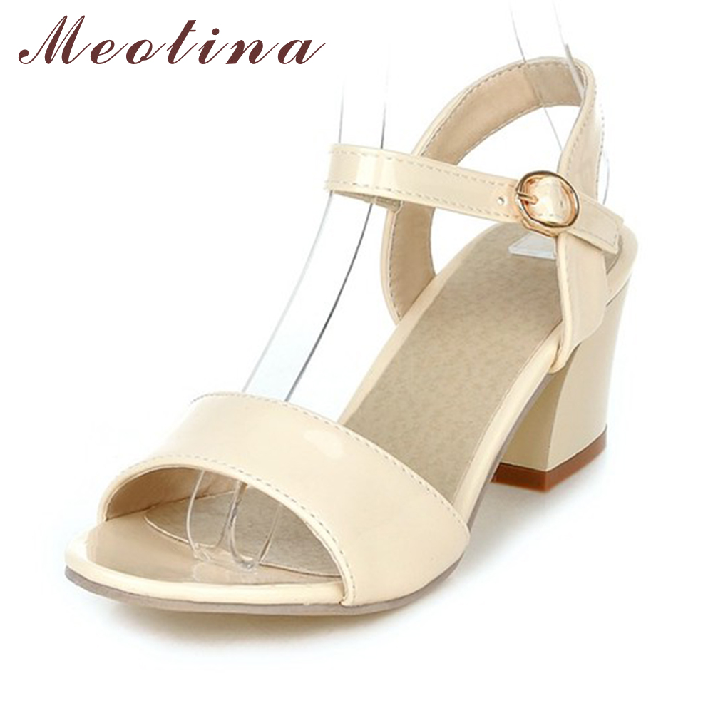 Meotina Women Sandals 2017 Summer Shoes Sandals Size 9 10 Open Toe Ladies Chunky High Heels Sandals White Pink Green Shoes 34-43  ephemeral ladies zip sandals with heels buckle strap open toe summer casual shoes woman spongy insole plus size 11 12 white pink