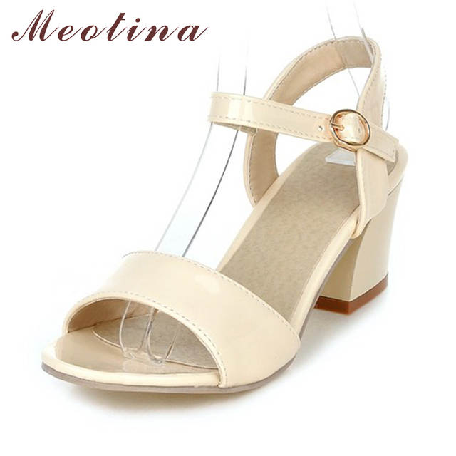 Meotina Women Sandals 2018 Summer Shoes Sandals Size 9 10 Open Toe Ladies  Chunky High Heels 7bbacb7936a9