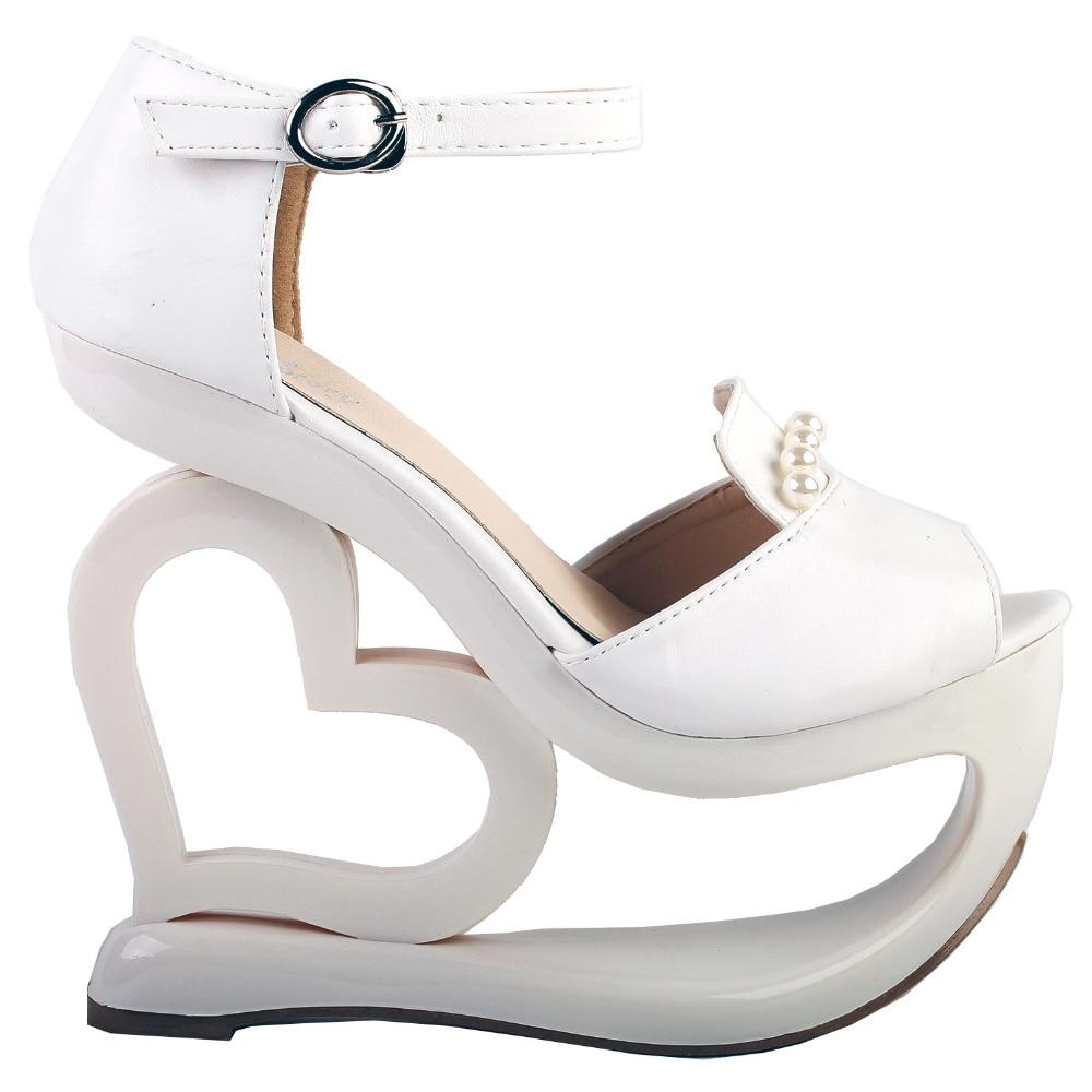 LF40209 White D orsay Pearl Heart Heel