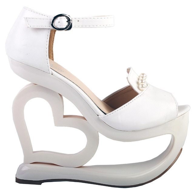Lf40209 White D Orsay Pearl Heart Heel Wedge Bridesmaid Wedding Sandals 4 5