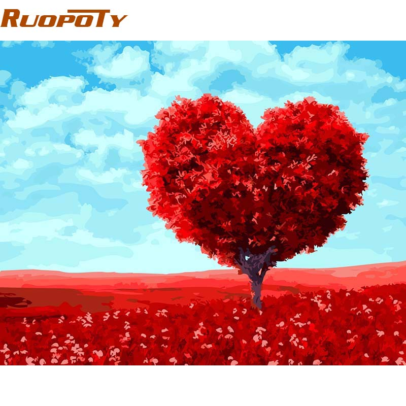 RUOPOTY Frame Romantic Heart Tree Diy Painting By Numbers Kits Paint On Canvas Hand Painted Oil Painting For Wedding Decor