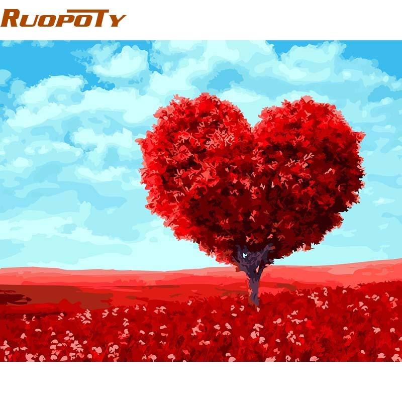 RUOPOTY Rahmen Romantische Herz Baum Diy Malerei Durch ...