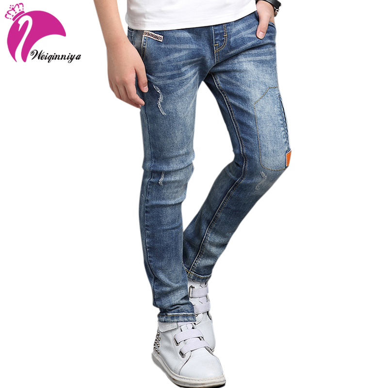 Children Boys Denim Jeans New Design 2017 Spring Fashion Solid Elastic Waist Trousers Casual Cotton Loose Kids Pants Clothes Hot