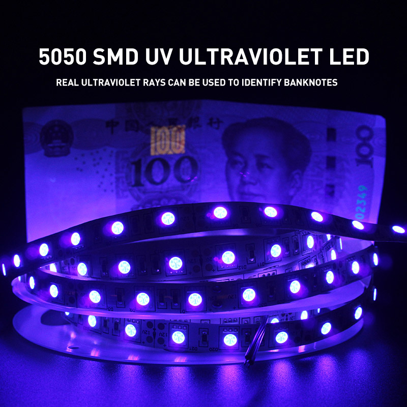 <font><b>UV</b></font> Ultraviolet 5050 SMD <font><b>LED</b></font> <font><b>Strip</b></font> Light 0.5-5M Waterproof Ribbon Purple Flexible Tape Lamp DC12V 395-405nm For DJ Fluorescence image