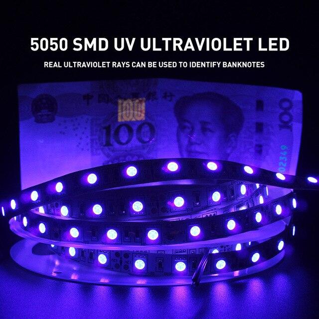 UV אולטרה סגול 5050 SMD LED רצועת אור 0.5 5 M עמיד למים סרט סגול גמיש קלטת מנורת DC12V 395 405nm עבור DJ הקרינה
