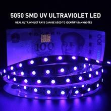 UV Ultraviolet 5050 SMD LED Strip Light 0.5 5M Waterproof Ribbon Purple Flexible Tape Lamp DC12V 395 405nm For DJ Fluorescence