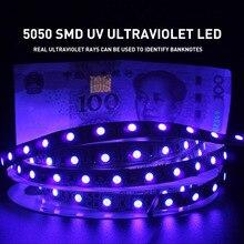 Uv 자외선 5050 smd led 스트립 빛 0.5 5 m 방수 리본 보라색 유연한 테이프 램프 dc12v 395 405nm dj 형광