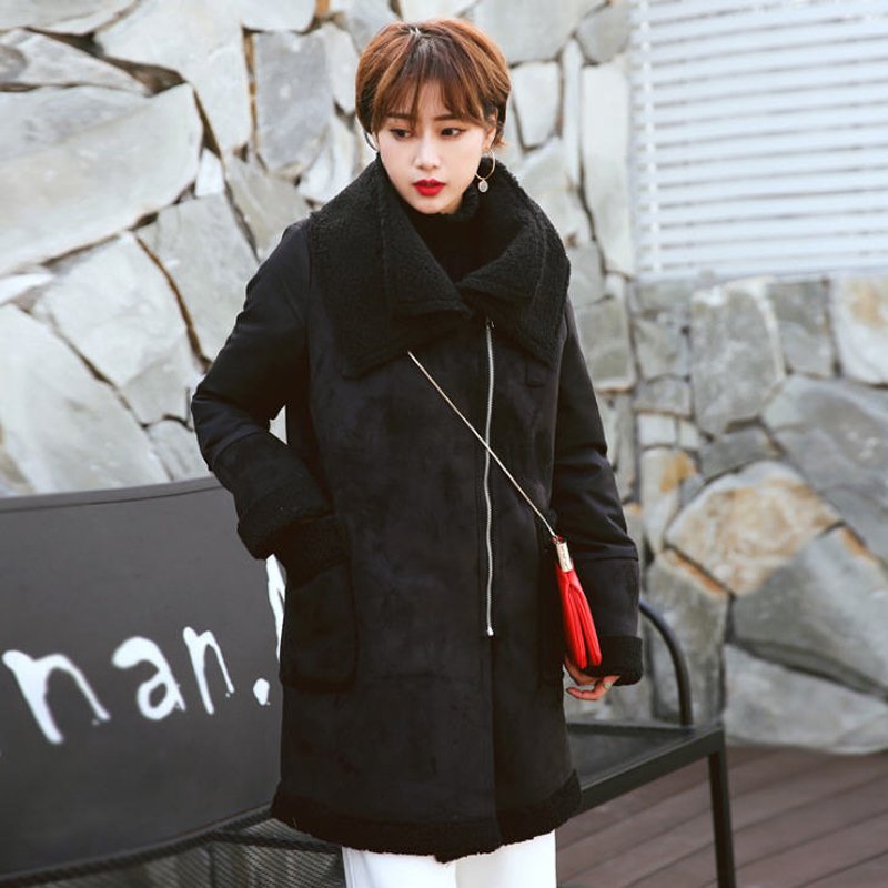 2018 Winter Woman Flocking Shearling Coats Faux Suede Leather Jackets Plus Size Coat Long Faux Lambs Wool Coat S-XXL Black W1392
