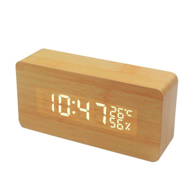 Feature-rich LED alarm clock digital Dual Display Vintage wood mini clock gift voice control smart auto brightness alarm clock