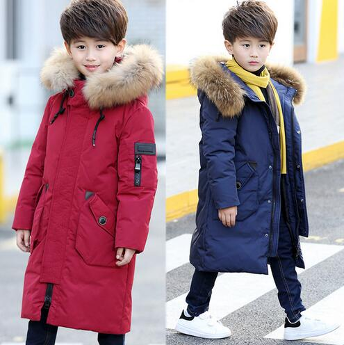 цена на Boys Winter Down Jacket New 2018 Children Winter Coat Kids Outerwear Warm Thick Fur Collar Hooded Long Parka Boy Clothes