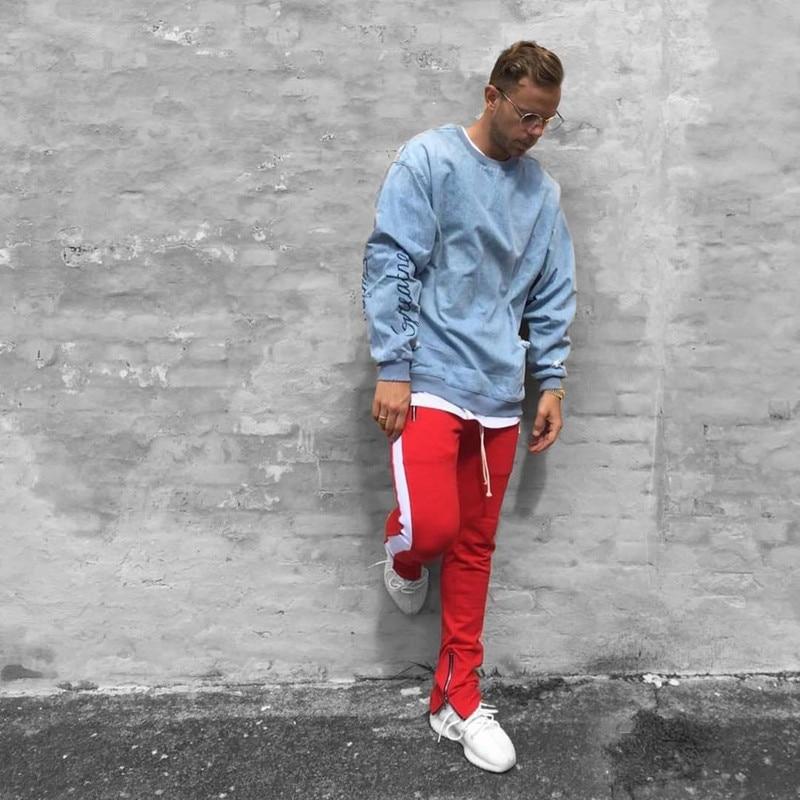 HTB1hP.JaEvrK1RjSspcq6zzSXXan 2019 Mens Zipper Pocket Anke Zip Track Pants Long Dawstring Sweatpants Side Striped Patchwork Casual Retro Trousers Man Pants