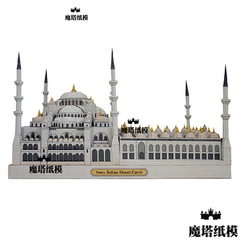 3D World Famous Building Turkish Blue Mosque Handmade Paper Model Drawing