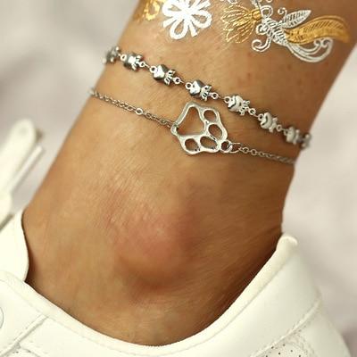 New Vintage Silver Color Multilayer Anklets For Women Girls Anklet Bracelet Female Handmade Jewelry Gift