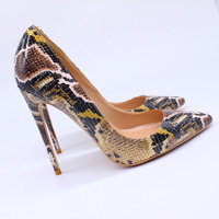 Free shipping fashion women Pumps lady tan printed snake Pointy toe high heels shoes size33 43 12cm 10cm 8cm Stiletto heeled