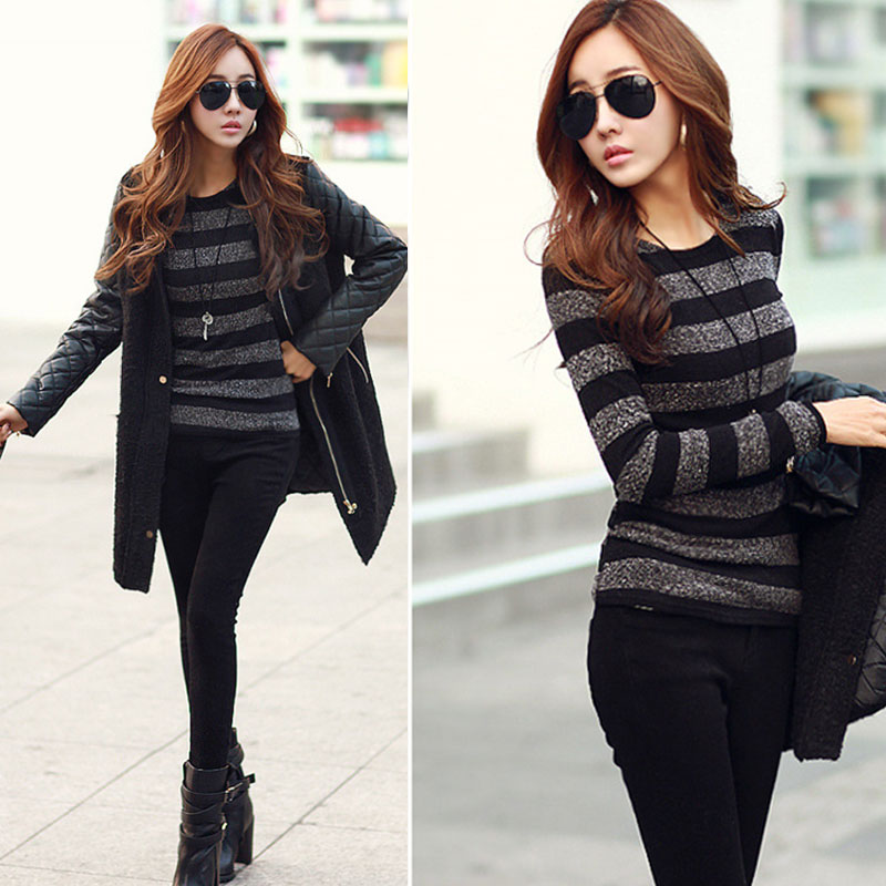 Autumn Winter Lady Long Sleeve Shirt O Neck Slim Pullover Patchwork Color Striped Casual Knitted Sweater Women Clothing GDD99