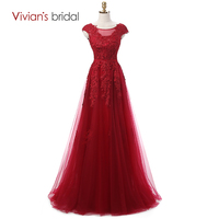 Vivian's Bridal Burgundy Sexy Lace Evening Dresses Long 2016 Couture Formal Evening Gown Dress Cap Sleeve Real Photo