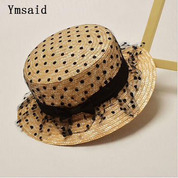 Summer Fashion Flat Hats For Women Kids Lace yarnShade Hat Tourism GIRLS Boater Hat Straw Hat Child