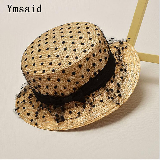 a9243bceb5768a Summer Fashion Flat Hats For Women Kids Lace yarnShade Hat Tourism GIRLS  Boater Hat Straw Hat Child