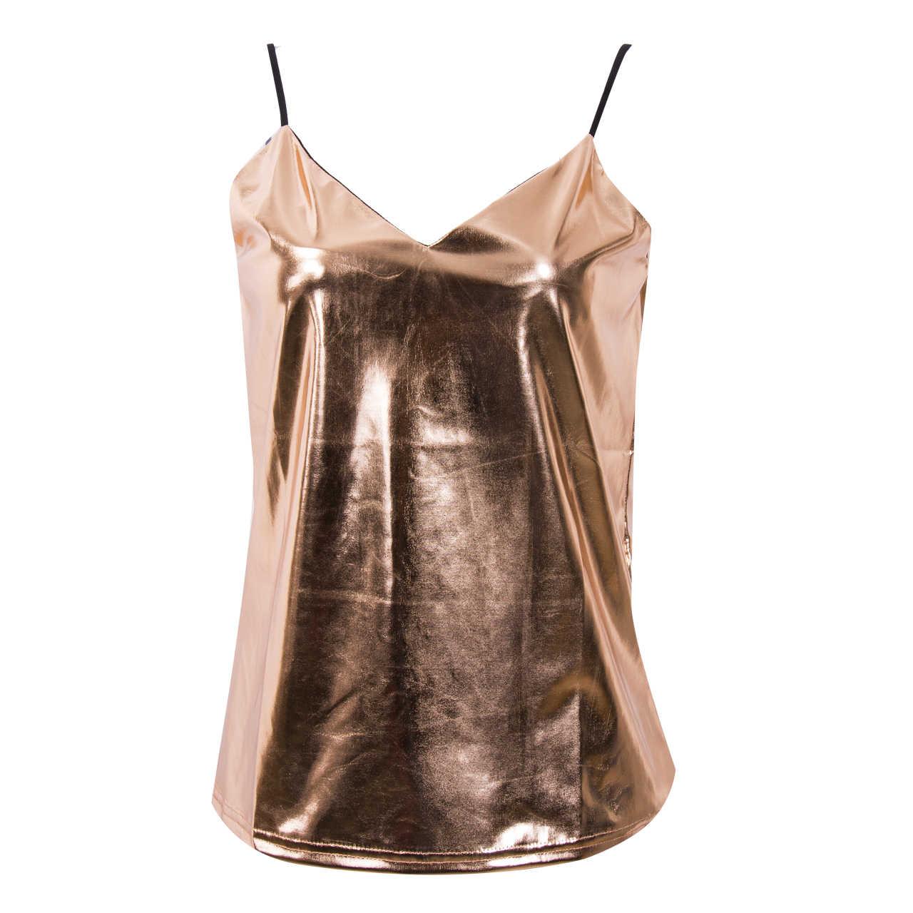 Gorące kobiety Sexy złoto srebro topy lato stałe Camis Sexy V Neck Brandy Melville bez rękawów Camisole Spaghetti pasek Bralette