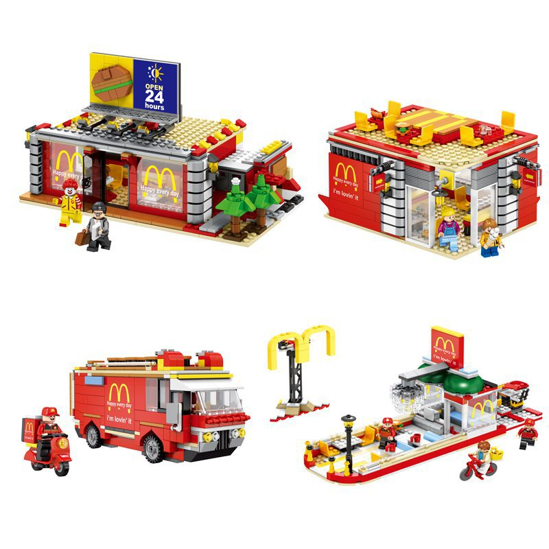 compatible legoing building city street view moc block MacDonald's Restaurant 4IN1 with LED lights bricks toys for kid gift creator city street view dinosaur museum moc building block triceratops pterosaur velociraptor fossil mummy figure bricks toys