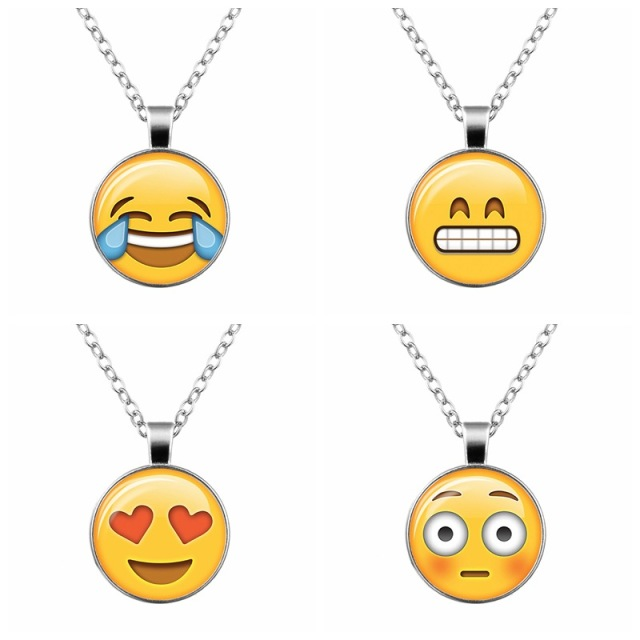 Hot 13 styles yellow emoji smiley face pendant glass cabochon hot 13 styles yellow emoji smiley face pendant glass cabochon emoticon necklace jewelry for women girl aloadofball Image collections