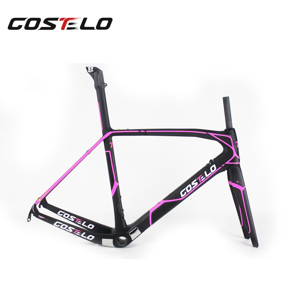 NEW ARRIVAL costelo cento carbon bike Road bike,carbon frames,pink/black color carbon fiber bicycle T800 UD ROAD RACING frame