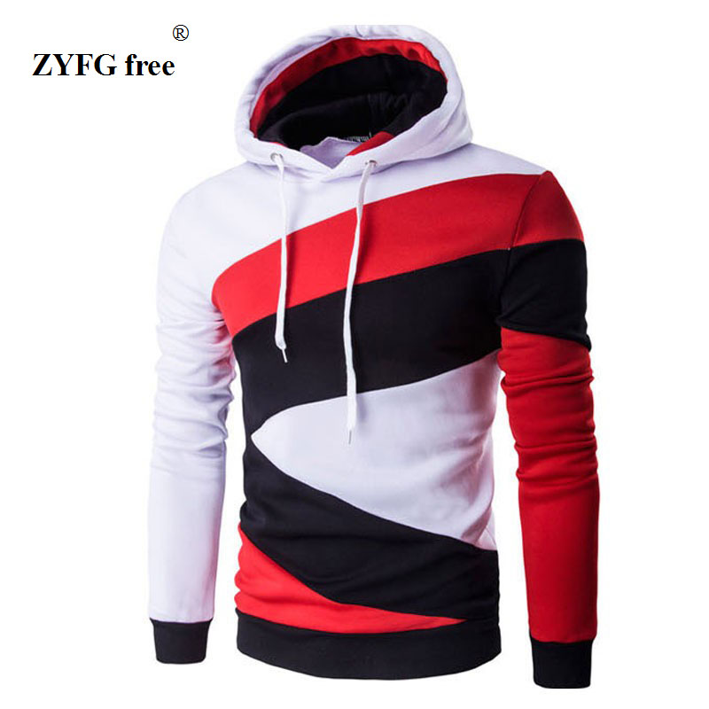 Hooded Men's 2017 Tops Brand Male Long Sleeve Hoodie Sweatshirt Men's Slim geometric pattern Men's hoodie Sportswear XXL black
