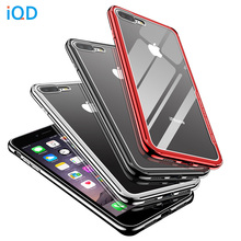 IQD protective Case For iPhone X 8 7 6 6S Plus Case luxury plating TPU bumper frame Shell transparent glass back Cover xr xs max x shaped protective tpu back case for nokia 720 transparent