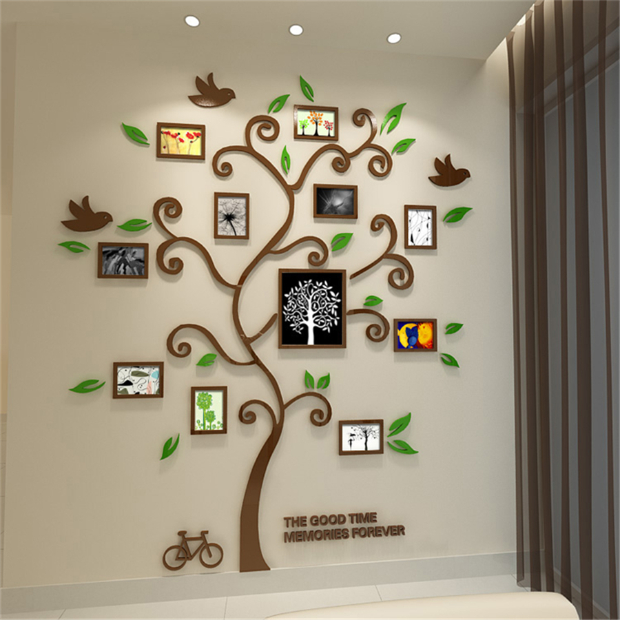 2016 new 11pcs photo frame tree acrylic 3d three dimensional wall 2016 new 11pcs photo frame tree acrylic 3d three dimensional wall stickers tv sofa home decorative diy crystal decal family tree in wall stickers from home amipublicfo Choice Image