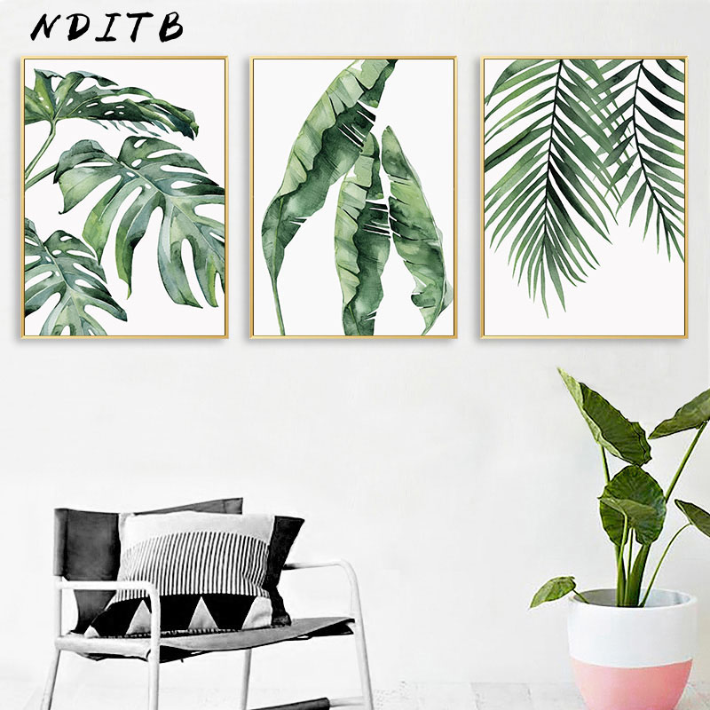Watercolor Plant Leaves Canvas Poster Wall Art Print Painting Nordic Decorative Picture Scandinavian Modern Living Room Decor