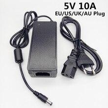 Adaptador de corriente de 5 V, 10A, 100 240V, CA a CC, 5V10A, convertidor de conmutación de fuente de 5 V, Cable de enchufe europeo, estadounidense, británico, australiano, 5,5x2,5mm, 5,5x2,1mm