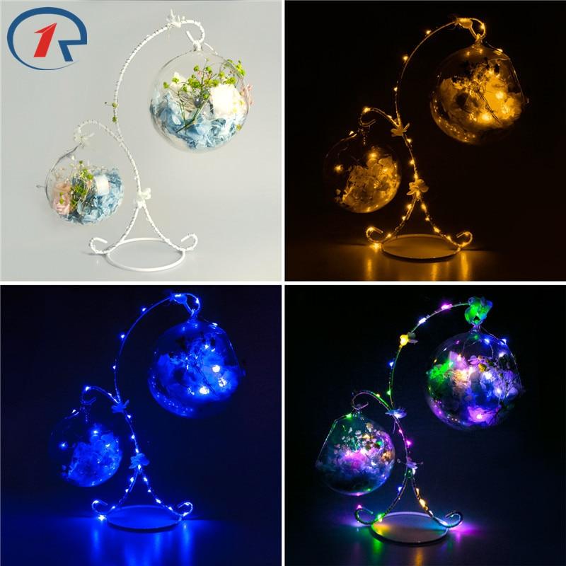 ZjRight Led bulb String Light X frame dry <font><b>flower</b></font> petal sachet Battery 2 glass ball Xmas gift Help sleep table night hanging lamp