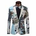 2017 Blazer Masculino Homens Da Moda Outono Blazers Casuais Impressão terno Clássico Dos Homens do Revestimento dos homens Da Marca Slim Fit Blazer XS-6XL