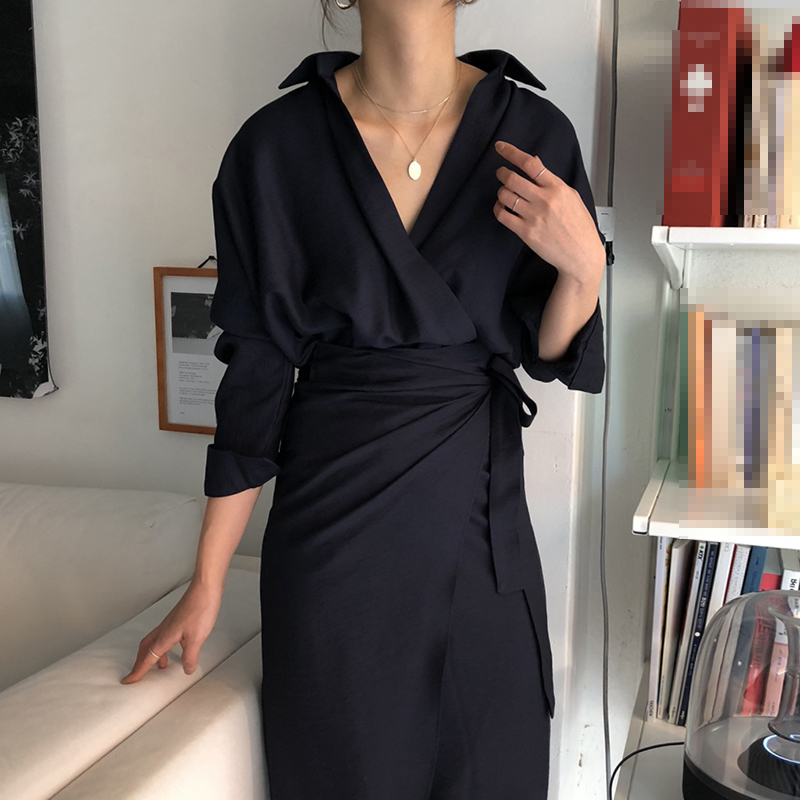 CHICEVER Bow Bandage Dresses For Women V Neck Long Sleeve High Waist Women's Dress Female Elegant Fashion Clothing New 19 9