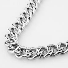 Custom ANY Length 11/13/15 mm Width Heavy Thick Silver Tone Round Curb Cuban 316L Stainless Steel Necklace Link Mens Chain high quality 21mm 60 cm super heavy thick mens flat curb cuban chain necklaces tone stainless steel hip hop gold silver necklace
