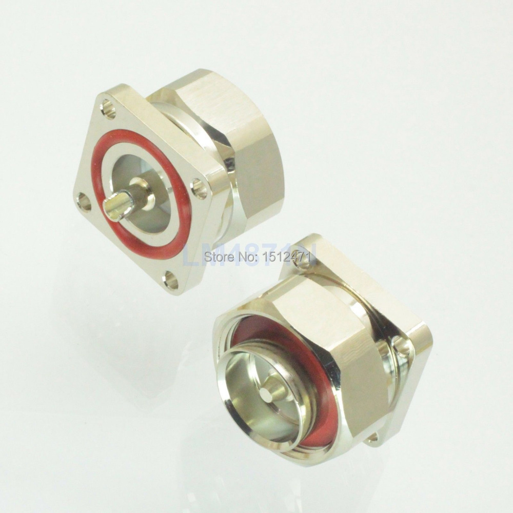1pce Connector 7/16 DIN L29 Male 4-hole 32mm Flange Solder O-ring Panel Mount