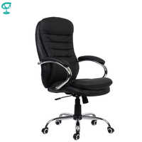 95146 Black Office Chair Barneo K-57 Chair Office eco-leather high back chrome armrests leather straps free shipping in Russia
