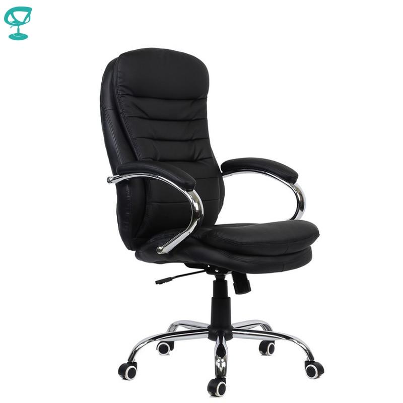 95146 silla de oficina negra Barneo K-57 silla de oficina eco-cuero alto cromo reposabrazos correas de cuero envío gratis en Rusia