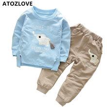 1-4Y kids set boys clothes cotton top pants spring autumn children clothing trousers cartoon elephant pullover hoodies suit